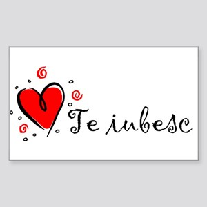 """I Love You"" [Romanian] Rectangle Sticker"